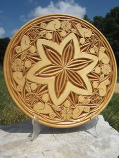 Chip Carved Decorative basswood 10 inch by WhitcombManor on Etsy, $65.00