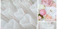 Immer wieder schön, sind diese herzförmigen Menükarten zu einer Hochzeit.     Diesmal war die Farbe Zartrosa gewünscht. Passend zur Blumen...