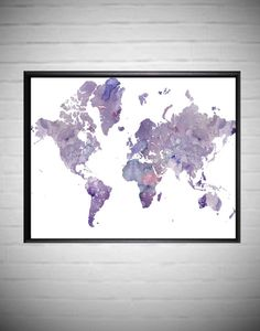 World Map Prints Large World Map Home and Living Art  by DaniJArts