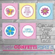 Printable Butterfly Cupcake Toppers Favor by PurpleConfettiPapers, $8.00