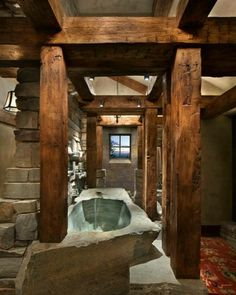 A dreamy mountain vacation in Montana: Great Northern Lodge - Best house decor . - A dreamy mountain vacation in Montana: Great Northern Lodge – best house decoration – A dreamy - Rustic Bathroom Designs, Rustic Bathroom Decor, Rustic Bathrooms, Dream Bathrooms, Log Cabin Bathrooms, Rustic Bathtubs, Bathroom Ideas, Rustic Shower, Wooden Bathroom