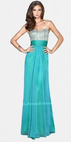 Classic Strapless Rhinestone Embellished Column Prom Dresses by La Femme