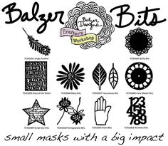 BRAND NEW Balzer Bits from The Crafter's Workshop! These little cuties are MASKS that are just the right size to do lots of different kinds of altering to your projects!