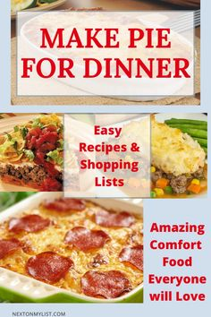 Recipes to share! A savory pie for dinner is the ultimate comfort food for a weekday dinner or for feeding a crowd. Three easy, delicious recipes you will make over and over. Grocery lists included. #taco #pie #spaghetti #comfort-food