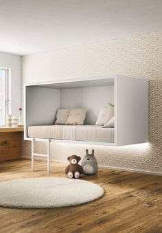 A floating bed design evokes a feeling of superiority by flowing above the floor emphasizing the feel of space allowing air to pass through the room easier. Girls Bedroom, Bedroom Decor, Bedroom Ideas, Childrens Bedroom, Bedroom Bed, Floating Bed, Minimalist Bedroom, Minimalist Kids, Minimalist Apartment