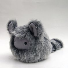 Furry Grey Baby Monster Plushie, Sasha - Cute Stuffed Toy with Black and Grey Striped Tail by Stuffed Silly