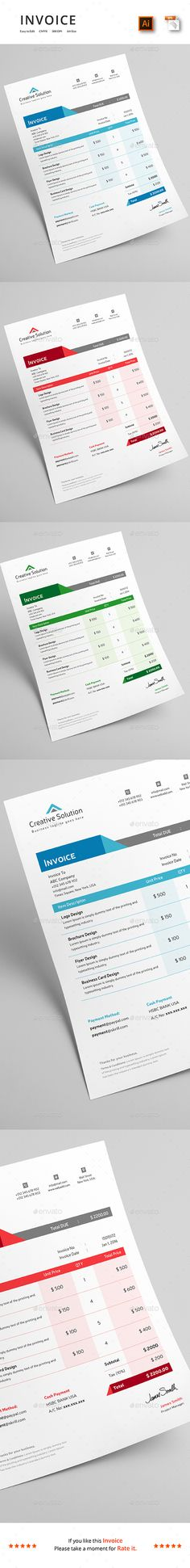 Invoice Bundle  In  Ai Illustrator Proposal Templates And