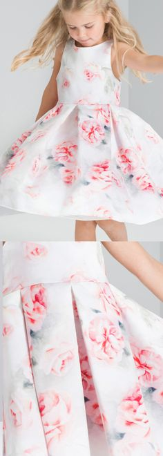 ROSE PRINT FLOWER GIRL DRESS with the prettiest of floral prints - fitted bodice and a box pleat skirt with an all over floral print. Flower Girls ideas for a spring summer wedding. Dress for young girls to attend summer weddings. Outfit ideas and inspiration. #springwedding #summerwedding #flowergirls #bridesmaids #flowergirlsdress #weddingideas #weddinginspiration #affiliatelink