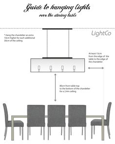 Guide to hanging lights over the dining table