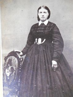 Lovely Lady Elegant Dark Hoop Dress Antique Civil War Era CDV Photo Millersburg   eBay
