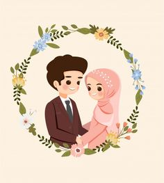 Weddings Discover Save The Date.cute Muslim Couple Cartoon W-Weddings Discover Save The Date.cute Muslim Couple Cartoon With Flower Wreath Fo… Weddings Discover Save The Date.cute Muslim Couple Cartoon With Flower Wreath For Wedding Invitation Card - Bride And Groom Cartoon, Wedding Couple Cartoon, Cute Couple Cartoon, Flower Invitation, Wedding Invitation Cards, Wedding Cards, Muslim Couple Photography, Cute Muslim Couples, Islamic Cartoon