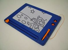 MagnaDoodle...had one until my brother stepped on it and broke it. ha