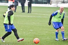 Ex-Napoli star Maradona playing alongside the FIFA president Infantino in the FIFA Legends tournament on Monday