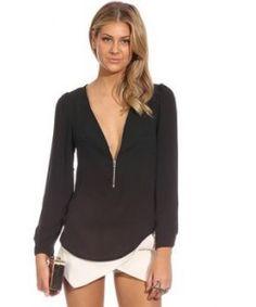 12ae91f8ae7 NEW Fashion 2015 Autumn V Neck Long Sleeve Zipper Sexy Chiffon Blouses Women  work wear Blusas Femininas Tops 6 Color Solid