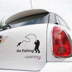 Free shipping Cartoon Car Styling Car Stickers Go Fishing  for Lada Cars Acessories decoration,car cover for ford /cruze $5.80