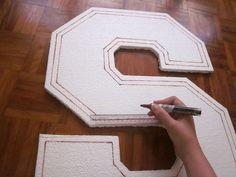 MrsMommyHolic: DIY Styrofoam Letters (how to cut & paint styrofoam) Painting Styrofoam, Styrofoam Letters, Cardboard Letters, Diy Letters, Cardboard Crafts, Crafts For Kids, Arts And Crafts, Diy Crafts, Macabre Decor
