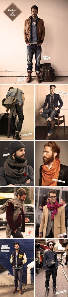 Men's fashion styles. Clothes / hair / beautiful / beard / cute / pants / shirts / casual street wear. Cute guys