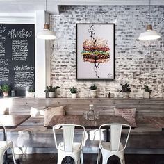 Coffee Shop Interior for Your Inspiration if It Will Open New Store Coffee Shop Design, Cafe Design, Interior Design, Interior Plants, Brick Interior, Purple Interior, Bar Interior, Book Design, Cafe Shop
