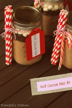I recently made these jars with hot cocoa mix in them to sell at some holiday boutiques. I think they would make great gifts for teacher...