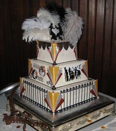 Art Deco Wedding Cake By geralyn1955 Cake covered in white chocolate ...