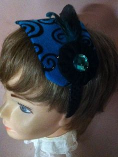 Lovely New Fascinator Turquoise Felt with Black Trim    Headband  #Unbranded #Casual #none