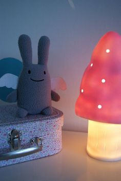 Ange Lapin, mushroom lamp, Liberty print mini suitcase