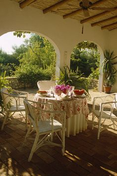 Traditional Tropical Patio...A table and chairs on a covered patio area.