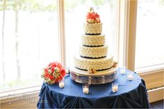 Equally delicious and gorgeous #weddingcake from Waterview's #bakery. Included with your #weddingreception package! www.waterviewcatering.com #summerwedding #lakeside #waterfront #wedding #ctweddingvenue #thewaterview #navy #coral #rosettes
