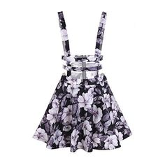 Bluetime Women High Waist Hollow Out Pleated Floral Print Suspender... ($19) ❤ liked on Polyvore featuring skirts, high rise skirts, floral skirt, high waisted knee length skirt, floral printed skirt and high-waisted skirt