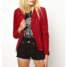 Blood red leather jacket for Women