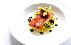 Pan fried red mullet on a tagliatelle of courgette with seared Scottish scallops, purple basil pesto and smoked garlic by Robert Thompson