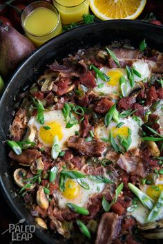 Skillet breakfasts are where it is at. Grab your favorite pan your preferred slices of bacon six eggs and get your energy on! Primal Recipes, Pork Recipes, Vegetarian Recipes, Healthy Recipes, Paleo Food, Egg Recipes, Paleo Meals, Paleo Diet, Eggs And Mushrooms