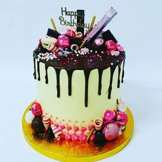 Cream and Chocolate with Pink Toppings