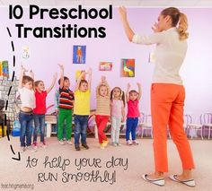 10 Preschool Transitions-- Songs and Chants to Help Your Day Run Smoothly Preschoolers LOVE music. They enjoy moving, making sounds, and singing! There's something about music that draws them in and points their attention at whoever is making music. Transition Songs For Preschool, Preschool Transitions, Preschool Songs, Preschool Lessons, Preschool Learning, Kindergarten Classroom, Classroom Activities, Early Learning, Preschool Teachers