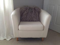BM Cement Grey walls, Ikea Tullsta Chair & WE Mongolian pillow