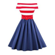Off The Shoulder Striped Vintage Dress Red (1.265 RUB) ❤ liked on Polyvore featuring dresses
