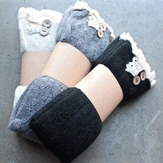 thigh high vintage style socks with buttons + lace