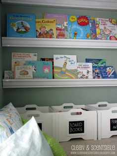 I think I have pinned this before... gutters for book shelves.  Great idea- but would they hold up with the boys?