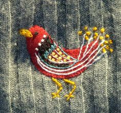 embroidery - bird