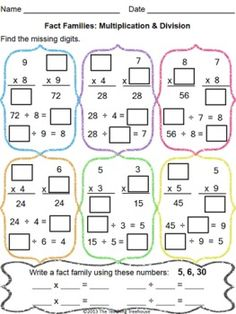 Multiplicaiton and Division Fact Family Worksheets | Educational ...