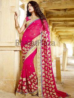 Fabulous rani pink color #Georgette #Saree with zari, resham, kundan work. Item Code : SKD6016 http://www.bharatplaza.com/new-arrivals/sarees.html
