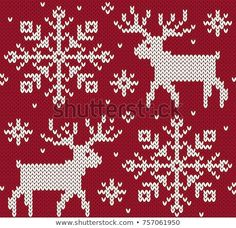 Find Reindeer Jacquard Seamless Pattern Red White stock images in HD and millions of other royalty-free stock photos, illustrations and vectors in the Shutterstock collection. 123 Cross Stitch, Cross Stitch Charts, Cross Stitch Embroidery, Embroidery Patterns, Knitting Patterns, Crochet Patterns, Crochet Coat, Knit Pillow, Chart Design