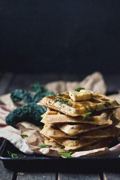 kale and romano ricotta waffles with cayenne honey