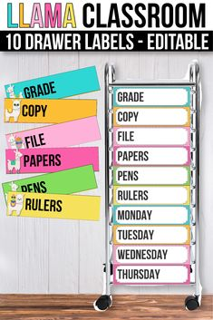 These fun and creative 10 drawer labels are the perfect printables for your preschool or kindergarten classroom. The bright and simple colors will match your cactus and llama classroom decorations.Your prek students will love the bright and colorful display that will help them find things more easily in your 10 drawer rolling cart or Sterilite drawers. You can bring your organization and storage skills to the next level with these modern labels. #10drawerlabels #llamaclasroomdecor Primary Classroom, Classroom Setup, Kindergarten Classroom, Drawer Cart, Drawer Labels, Powerpoint Format, Teacher Created Resources, Alphabet Worksheets, Teacher Organization