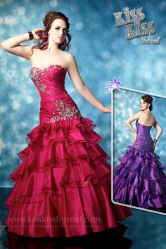 Strapless, taffeta, trumpet gown with dropped waistline, sweetheart neckline, sweep train, beads, sequins, rhinestones, ruching, ruffle-tiered skirt and lace-up back. Available in Fuchsia, Purple, and Turquoise.