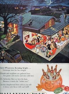 Vintage Ballantine Beer ad shows adult party underway in see-through house.