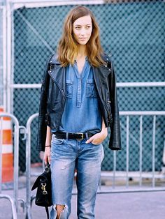 Opt for a denim-and-leather combo for a bit of an edgy look