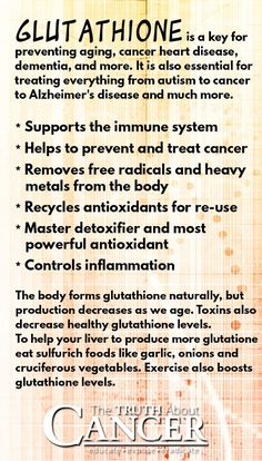 "Are you familiar with Gluthathione? It's a key for preventing aging, cancer, heart disease, dementia, and other chronic diseases. Read all about how it works and why it is considered ""the master antioxidant"" when clicking on the image above."