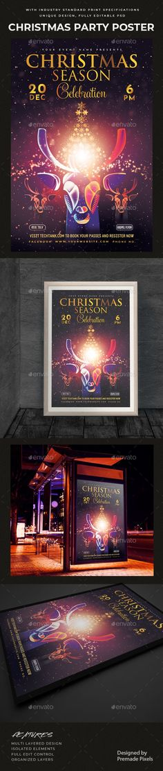 Buy Christmas Party Celebration Poster by PremadePixels on GraphicRiver. This poster is ideal if you are promoting your Christmas Events, Christmas Parties, Club parties, banquets, elite sho. Christmas Party Poster, Christmas Flyer, Christmas Events, Christmas Parties, Graphic Design Templates, Print Templates, Club Parties, Flyer Template, Flyer Design
