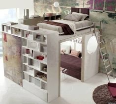 Cool bedroom idea...bed on top and couch on the bottom. Plenty of storage too.